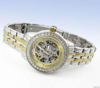 AK ANNE KLEIN Womens Two Tone AUTOMATIC Crystal Accented WATCH