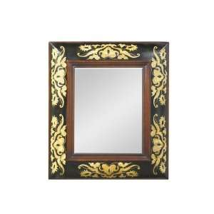 Wall Mirror with Cream Detailing in Distressed Black