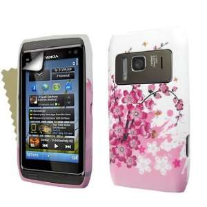 Brand new Nokia n8 Pink white bee floral silicone gel case