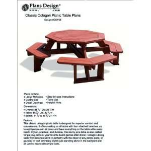 Octagon Style Picnic Table With Bench Woodworking Outdoor