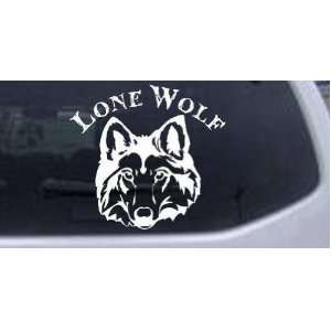 White 14in X 12.8in    Lone Wolf Head Biker Car Window Wall Laptop