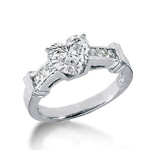 1.45 Ct Heart Shaped Diamond Engagemant Ring 14K SI3
