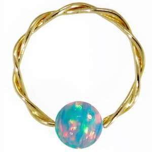 Blue Opal Solid 14k Yellow Gold wised Capive Bead Ring Jewelry