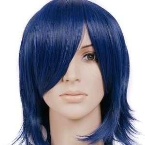Dark Blue Short Shoulder Length Anime Cosplay Wig Costume