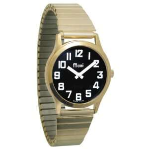Mens Gold Tone Low Vision Watch Black Face Expansion Band