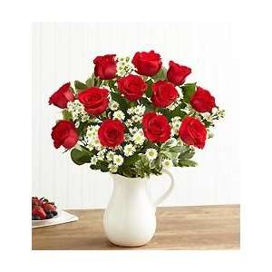 Pitcher Full of Roses   One Dozen Red Roses:  Grocery
