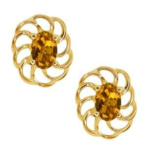 1.00 Ct Oval Orange Tourmaline 18k Yellow Gold Earrings