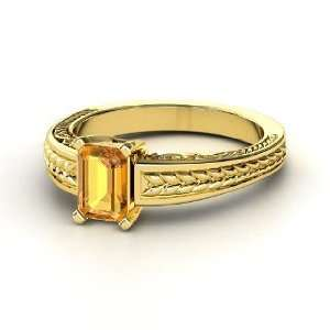 Emerald Cut Ceres Ring, Emerald Cut Citrine 14K Yellow