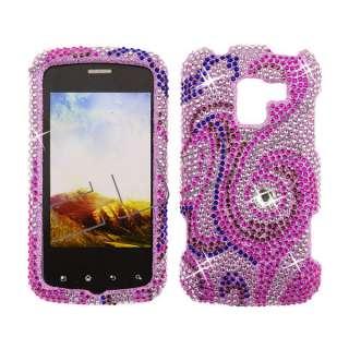 Optimus Slider LS700 Diamond Bling Case Cover  Pink Swirl 117