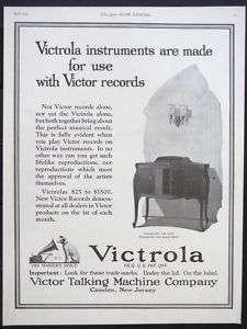 1922 VICTOR TALKING MACHINE Victrola Phonograph magazine Ad record