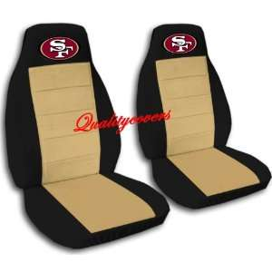 2 Black and tan San Francisco car seat covers for a 2002