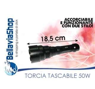 LAMPADA TORCIA LAMPADINA TASCABILE 50W LUCE ALLUMINIO