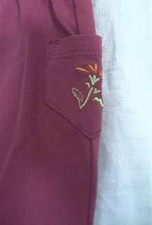 NWT NEW HANNA ANDERSSON Baby Girl Purple Red 1000 Flower Set Top Pants