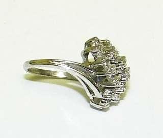 Vintage Tru Glo 14k White Gold DIAMOND CLUSTER RING 4.1g Size 4