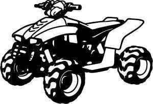 ATV 4 WHEELER QUAD STICKER/DECAL CHOOSE SIZE/COLOR
