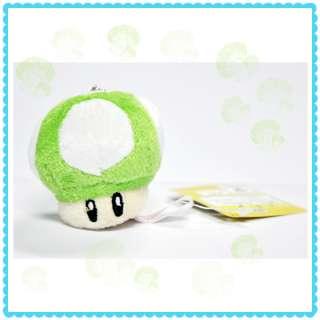 Super Mario Bros Green Mushroom Plush Keychain 2.5