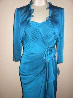 NWT Adrianna Papell Chiffon Twist Front Cocktail Dress & Jacket 4P