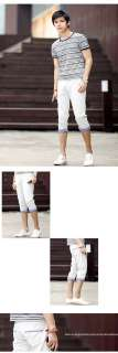 Mens Fashion Designed Casual Slim Fit Cropped Capri Pants Shorts 3