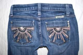 Girls MISS ME JEANS 10 capri jeans Sunbeam burst crop rhinestone