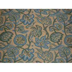 Crewel Fabric Lotus Pond Butter Yellow Cotton Duck