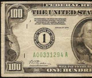 1928 $100 DOLLAR BILL GOLD ON DEMAND FEDERAL RESERVE NUMERICAL NOTE Fr