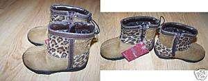 Infant Size 5 Brown Cheetah Leopard Print Boots New Zip