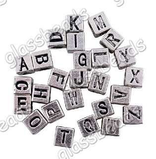 60pcs Mixed 26 Letter Tibet Silver Spacer Beads Charms 4.5MM Hole