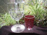 EAPG BLOWN GLASS WHISKY GLASS THUMBPRINT RARE WISTERIA CRANBERRY PINK