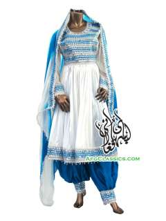 Traditional Afghanistan Womens Formal Dress Mirror Work White Blue