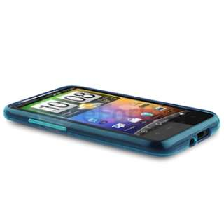 Blue TPU Gel Skin Case+Car Charger+Privacy Film For HTC Inspire 4G