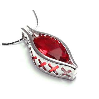 FREE NECKLACE RED RUBY WHITE GOLD GP PENDANT NECK CHAIN