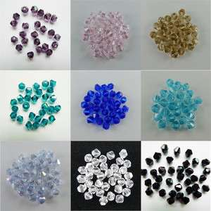 100pcs Beautiful Glass Crystal Bicone Beads 4mm