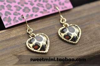2304 Korean Fashion cutie heart with leopard print Earrings