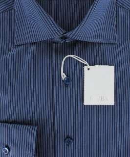 New $325 Barba Napoli Navy Blue Shirt 18/45
