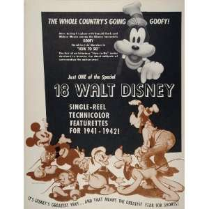 1941 Ad Film Walt Disney Goofy Mickey Minnie Mouse RKO