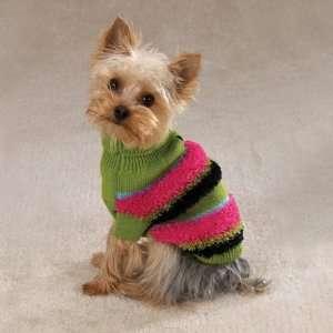 Large Fuzzy Stripe Turtleneck Dog Sweater
