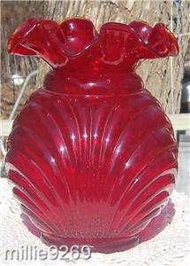 Fenton Country Cranberry Vase Caprise w Bow YOP 1988 92 #9754