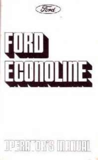 1975 FORD ECONOLINE VAN Owners Manual User Guide