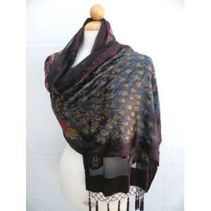 Soft High Quality Silk Velvet Long Scarf Centered by Two Beautiful