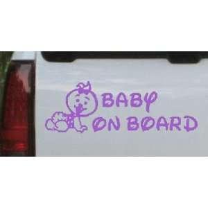 Purple 20in X 7.0in    Baby On Board (Girl) Car Window Wall Laptop