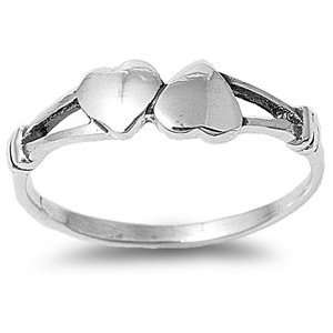 Sterling Silver Twin Hearts Ring   Size 4 Jewelry