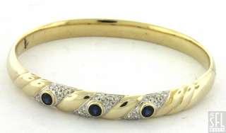 14K GOLD FANCY HIGH GLOSS .96CT DIAMOND/BLUE SAPPHIRE HINGED BANGLE