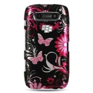 VMG BlackBerry Torch 9850/9860   Pink/Black Butterfly Design Hard Case