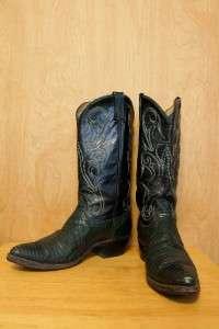 Used DAN POST Womens 12 Cowboy Western Boots Green Lizard Skin