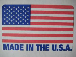 1,000 2 x 3 MADE IN THE USA / USA FLAG LABEL STICKER