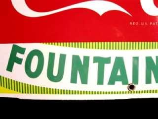 VINTAGE COKE Coca Cola RARE PORCELAIN FOUNTAIN SERVICE SIGN  BRIGHT