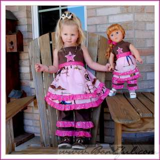 BOOAK RTS Girl 2 3 Pageant Cowgirl Birthday Dress Top Set Boutique