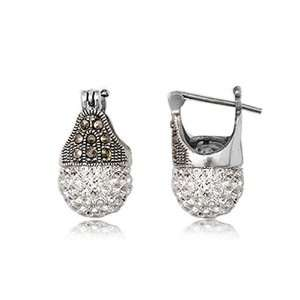925 Sterling Silver Marcasite With White Swarovski Crystal