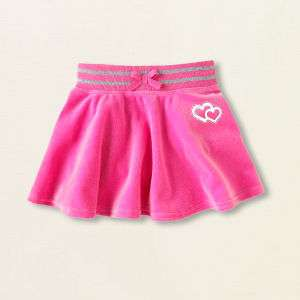 Toddler Girls Pink Velour Hearts ♥ Skirt 18 24 months