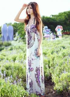 sexy women Bohemian Maxi Long Dresses Flowers floral Halter Beach